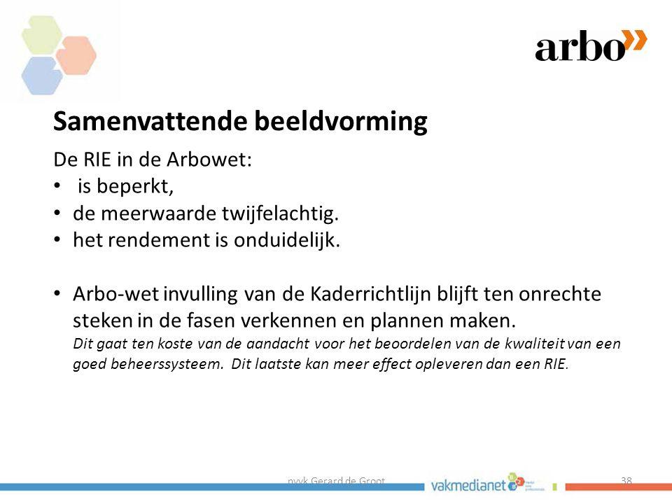 nvvk Gerard de Groot38 Samenvattende beeldvorming De RIE in de Arbowet: is beperkt, de meerwaarde twijfelachtig.
