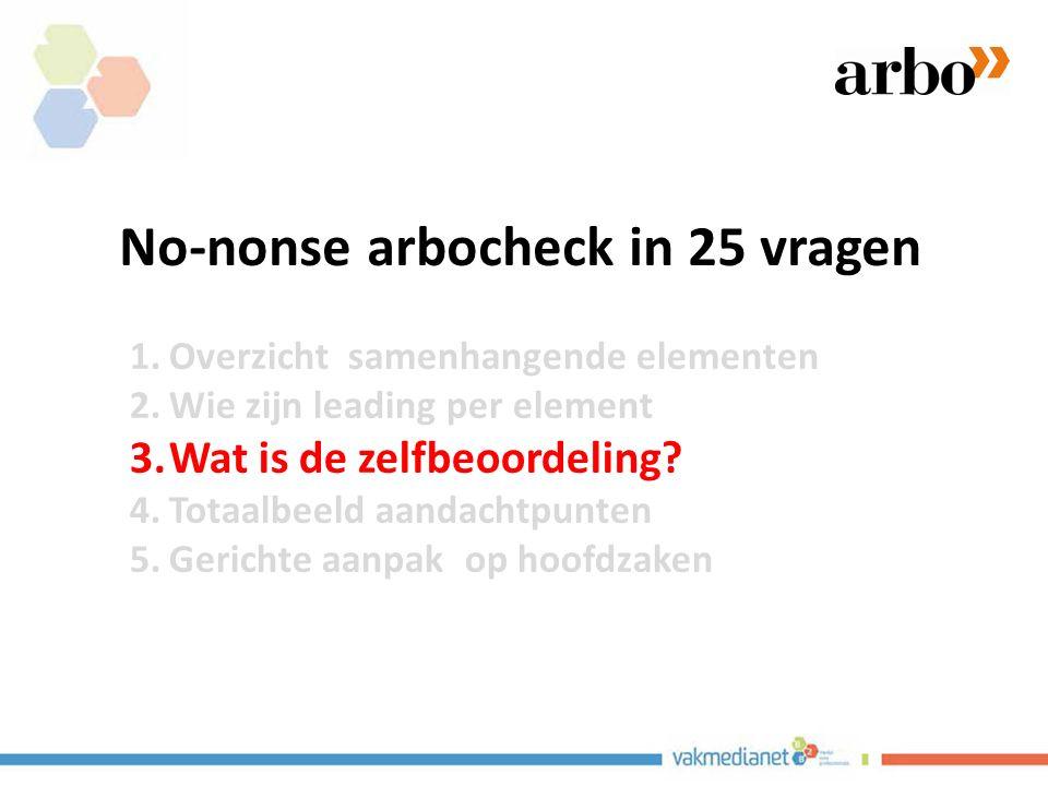 No-nonse arbocheck in 25 vragen 1.Overzicht samenhangende elementen 2.Wie zijn leading per element 3.Wat is de zelfbeoordeling.