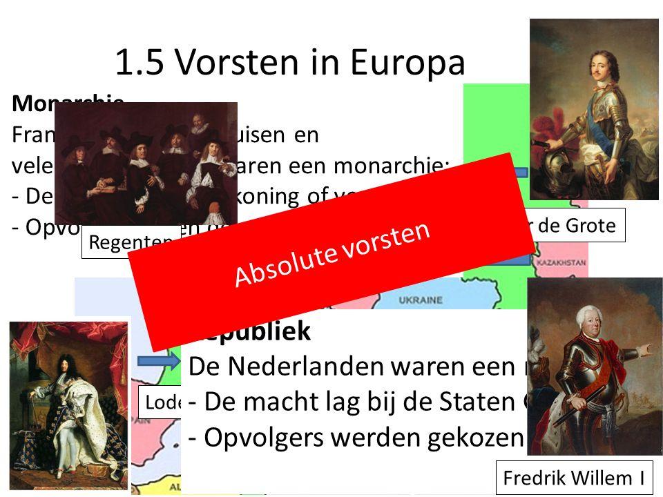 Monarchie Frankrijk, Rusland, Pruisen en vele andere landen waren een monarchie: - De macht lag bij de koning of vorst - Opvolgers waren de erfgenamen