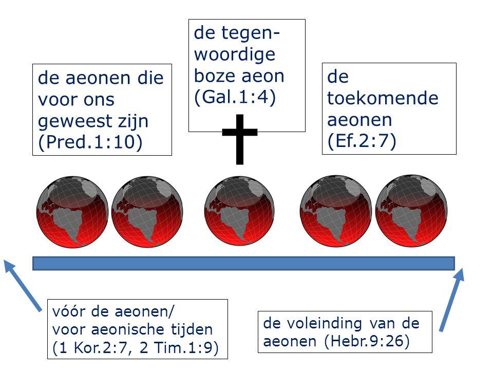 de aeonen die voor ons geweest zijn (Pred.1:10) de tegen- woordige boze aeon (Gal.1:4) de toekomende aeonen (Ef.2:7) vóór de aeonen/ voor aeonische ti