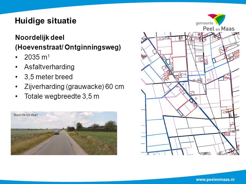 Huidige situatie Noordelijk deel (Hoevenstraat/ Ontginningsweg) 2035 m 1 Asfaltverharding 3,5 meter breed Zijverharding (grauwacke) 60 cm Totale wegbreedte 3,5 m Noordelijk deel