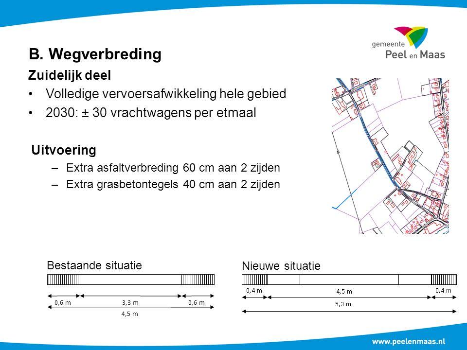 B. Wegverbreding Zuidelijk deel Volledige vervoersafwikkeling hele gebied 2030: ± 30 vrachtwagens per etmaal Uitvoering –Extra asfaltverbreding 60 cm