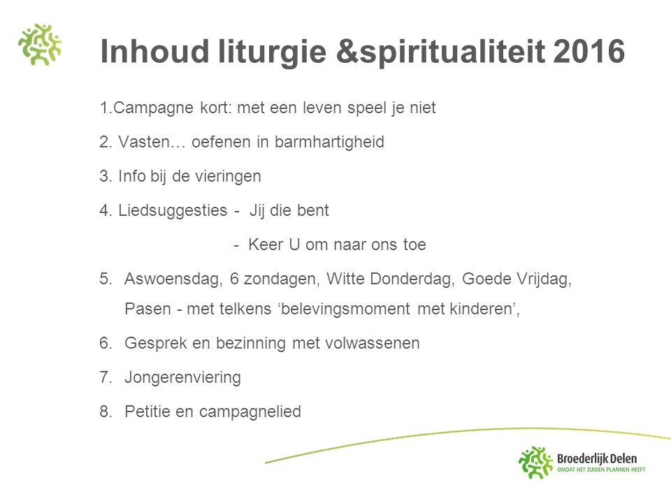 Inhoud liturgie &spiritualiteit 2016 1.Campagne kort: met een leven speel je niet 2.