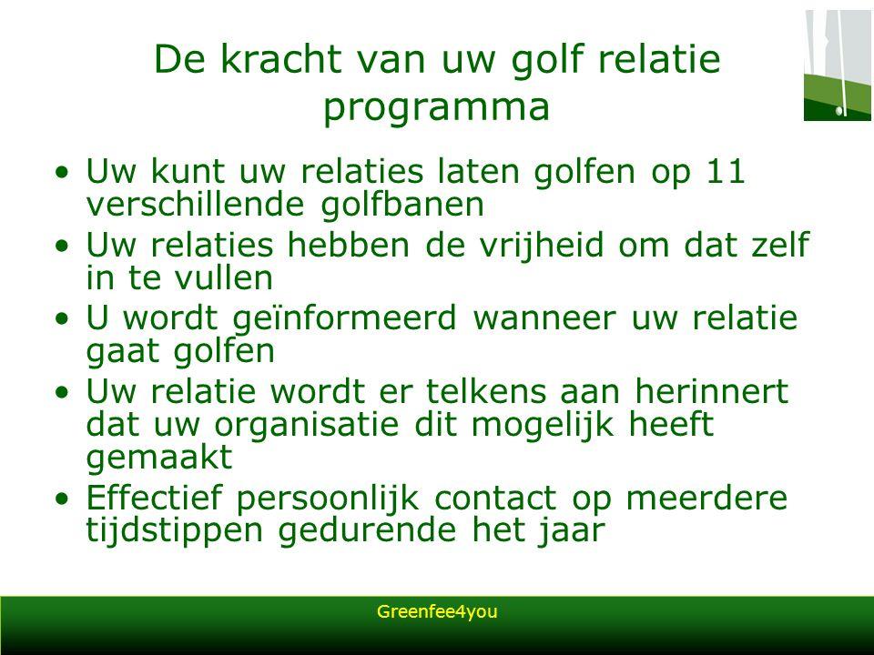 Greenfee4you De kracht van uw golf relatie programma Uw kunt uw relaties laten golfen op 11 verschillende golfbanen Uw relaties hebben de vrijheid om