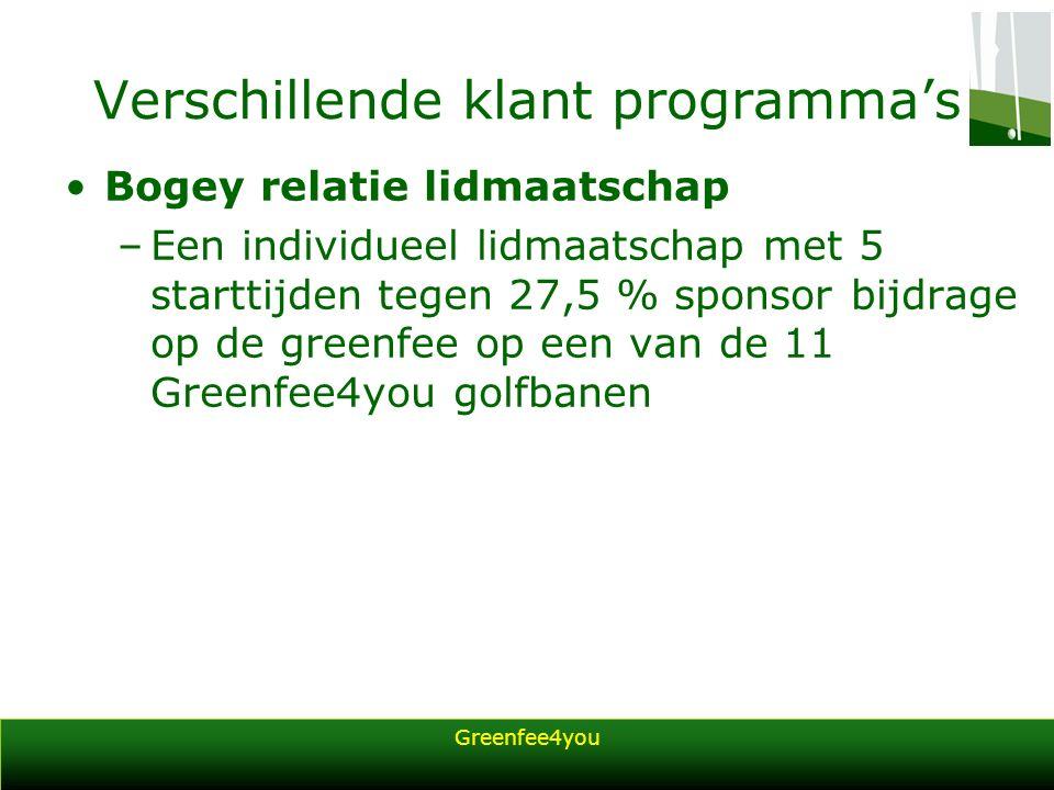 Greenfee4you Verschillende klant programma's Bogey relatie lidmaatschap –Een individueel lidmaatschap met 5 starttijden tegen 27,5 % sponsor bijdrage op de greenfee op een van de 11 Greenfee4you golfbanen