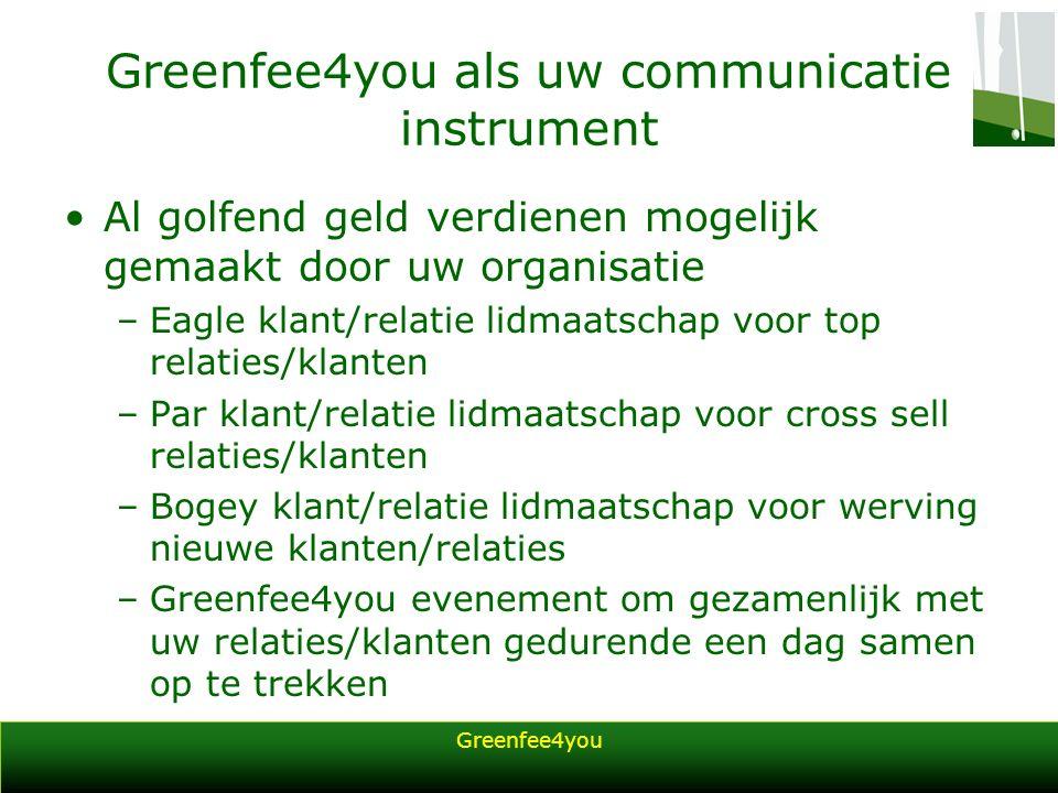 Greenfee4you Greenfee4you als uw communicatie instrument Al golfend geld verdienen mogelijk gemaakt door uw organisatie –Eagle klant/relatie lidmaatsc
