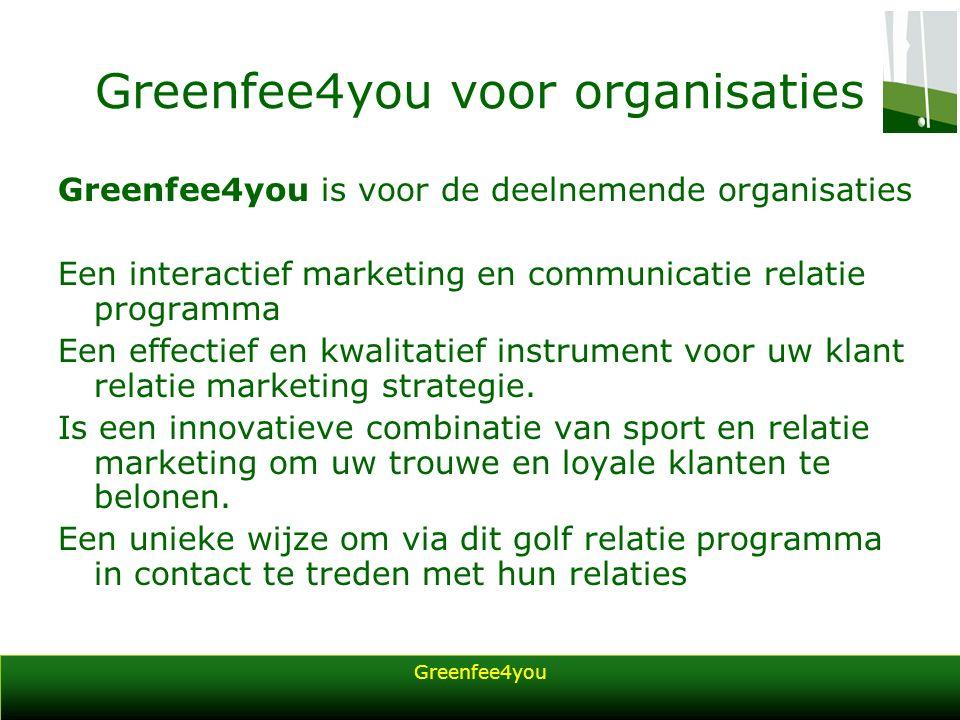 Greenfee4you Greenfee4you voor organisaties Greenfee4you is voor de deelnemende organisaties Een interactief marketing en communicatie relatie program