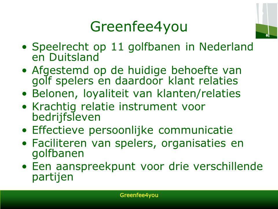 Greenfee4you Speelrecht op 11 golfbanen in Nederland en Duitsland Afgestemd op de huidige behoefte van golf spelers en daardoor klant relaties Belonen