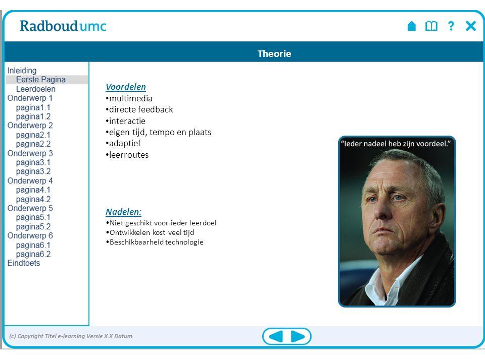 Voordelen multimedia directe feedback interactie eigen tijd, tempo en plaats adaptief leerroutes Nadelen: Niet geschikt voor ieder leerdoel Ontwikkele