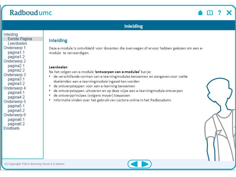 Inleiding Deze e-module is ontwikkeld voor docenten die overwegen of ervoor hebben gekozen om een e- module te vervaardigen. Leerdoelen Na het volgen