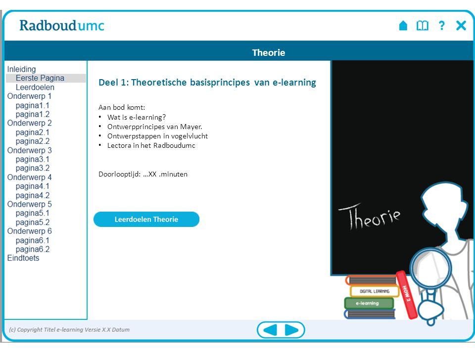 Theorie Deel 1: Theoretische basisprincipes van e-learning Aan bod komt: Wat is e-learning? Ontwerpprincipes van Mayer. Ontwerpstappen in vogelvlucht