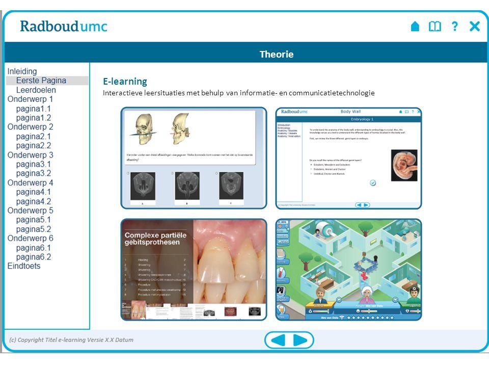 E-learning Interactieve leersituaties met behulp van informatie- en communicatietechnologie Theorie