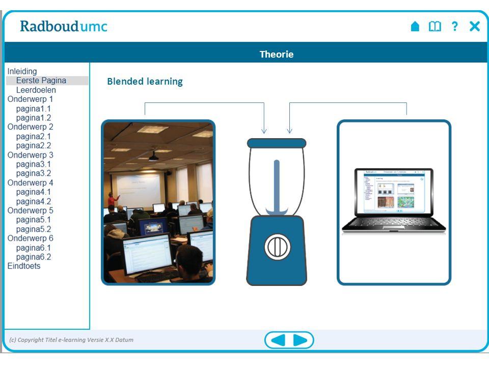 NB: de termen e-learningmodule en e-module worden door elkaar gebruikt E-learning Geschikt voor: kennis overdragen voorkennis activeren oefenen Theorie
