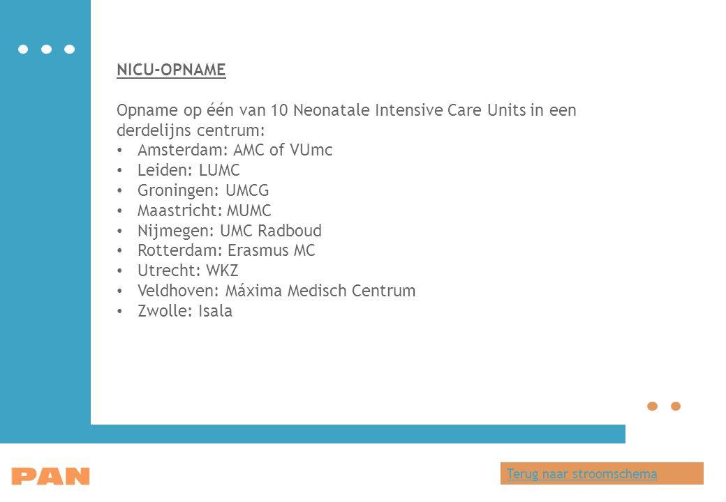 NICU-OPNAME Opname op één van 10 Neonatale Intensive Care Units in een derdelijns centrum: Amsterdam: AMC of VUmc Leiden: LUMC Groningen: UMCG Maastricht: MUMC Nijmegen: UMC Radboud Rotterdam: Erasmus MC Utrecht: WKZ Veldhoven: Máxima Medisch Centrum Zwolle: Isala Terug naar stroomschema