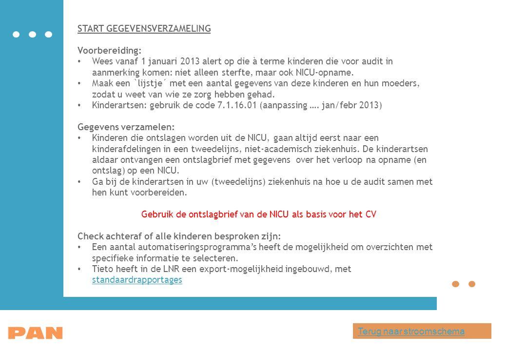 START GEGEVENSVERZAMELING Voorbereiding: Wees vanaf 1 januari 2013 alert op die à terme kinderen die voor audit in aanmerking komen: niet alleen sterfte, maar ook NICU-opname.