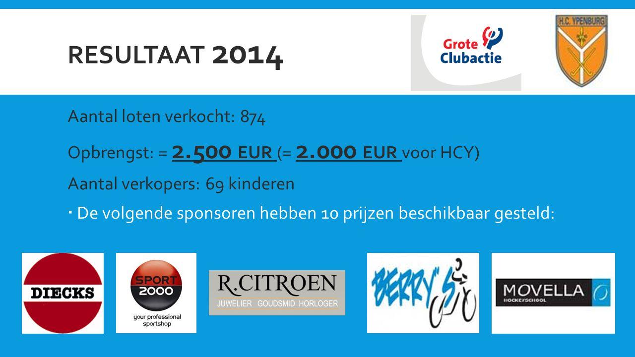 RESULTAAT 2014 Aantal loten verkocht: 874 Opbrengst: = 2.500 EUR (= 2.000 EUR voor HCY) Aantal verkopers: 69 kinderen  De volgende sponsoren hebben 10 prijzen beschikbaar gesteld: