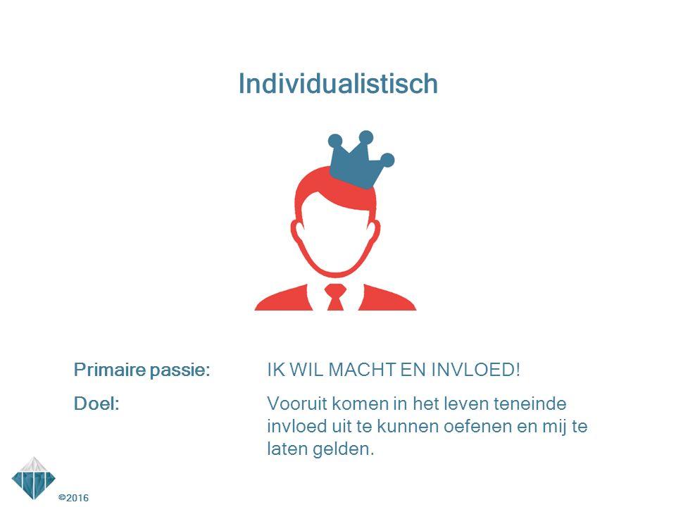 ©2016 Individualistisch Primaire passie:IK WIL MACHT EN INVLOED.