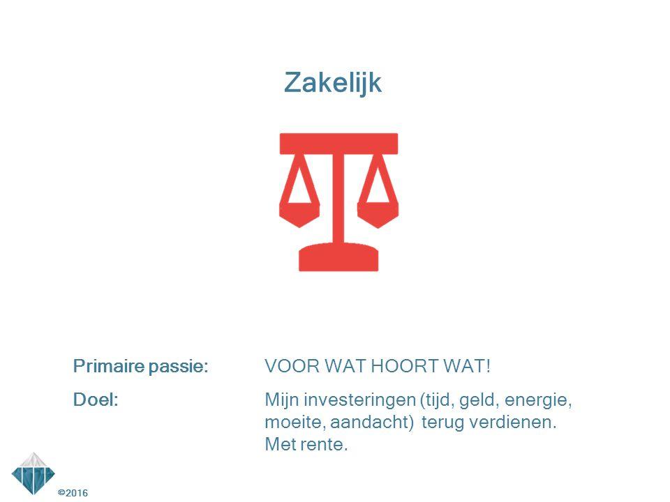 ©2016 Zakelijk Behoeften:(Terug)Verdienen, besparen, vermarkten, realiseren van concrete resultaten/targets.