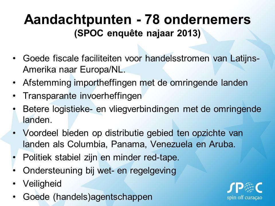 Aandachtpunten - 78 ondernemers (SPOC enquête najaar 2013) Goede fiscale faciliteiten voor handelsstromen van Latijns- Amerika naar Europa/NL. Afstemm