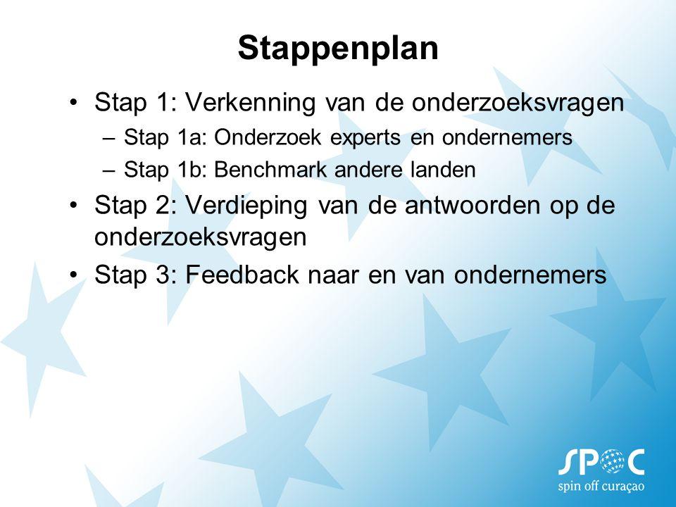 Stappenplan Stap 1: Verkenning van de onderzoeksvragen –Stap 1a: Onderzoek experts en ondernemers –Stap 1b: Benchmark andere landen Stap 2: Verdieping