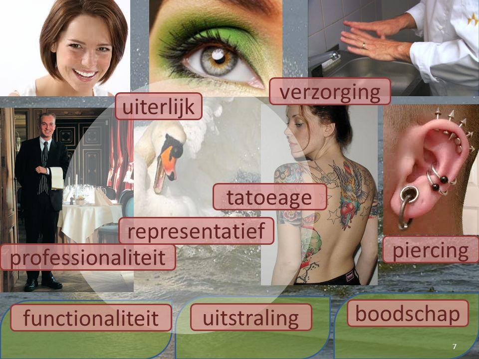 7 representatief boodschap uitstraling functionaliteit uiterlijk verzorging piercing tatoeage professionaliteit