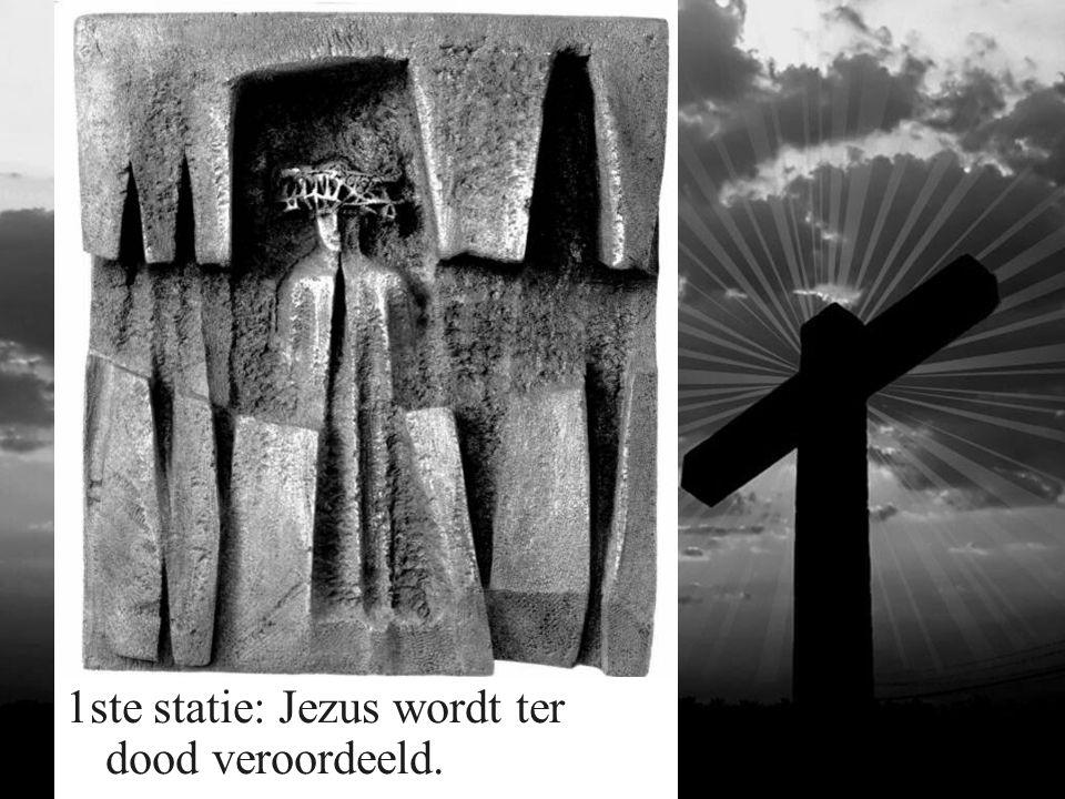 1ste statie: Jezus wordt ter dood veroordeeld.