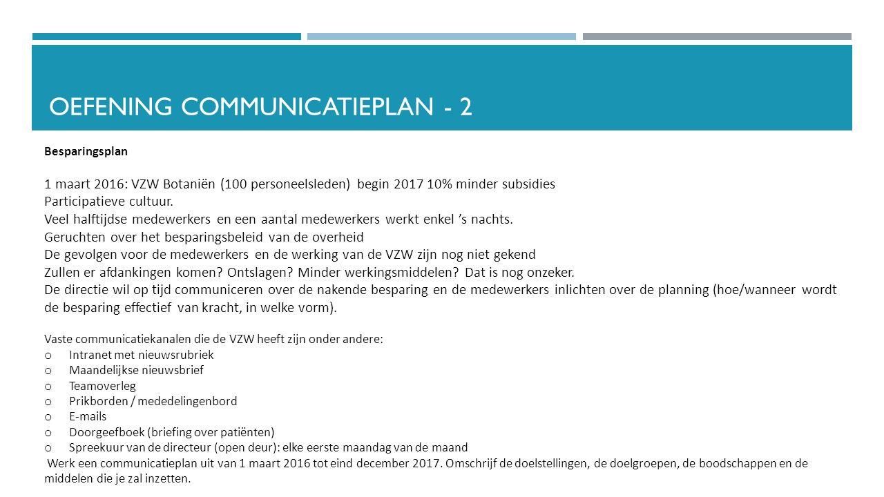 OEFENING COMMUNICATIEPLAN - 2 Besparingsplan 1 maart 2016: VZW Botaniën (100 personeelsleden) begin 2017 10% minder subsidies Participatieve cultuur.