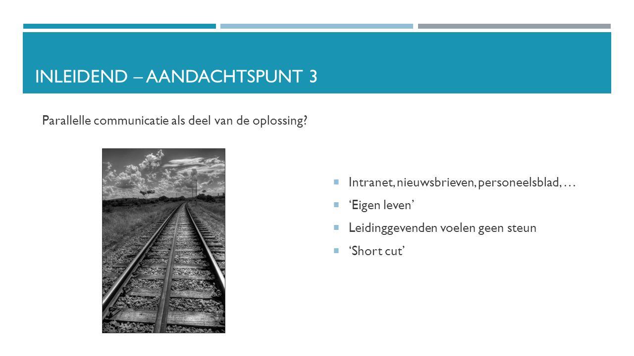 INLEIDEND – AANDACHTSPUNT 3 Parallelle communicatie als deel van de oplossing.