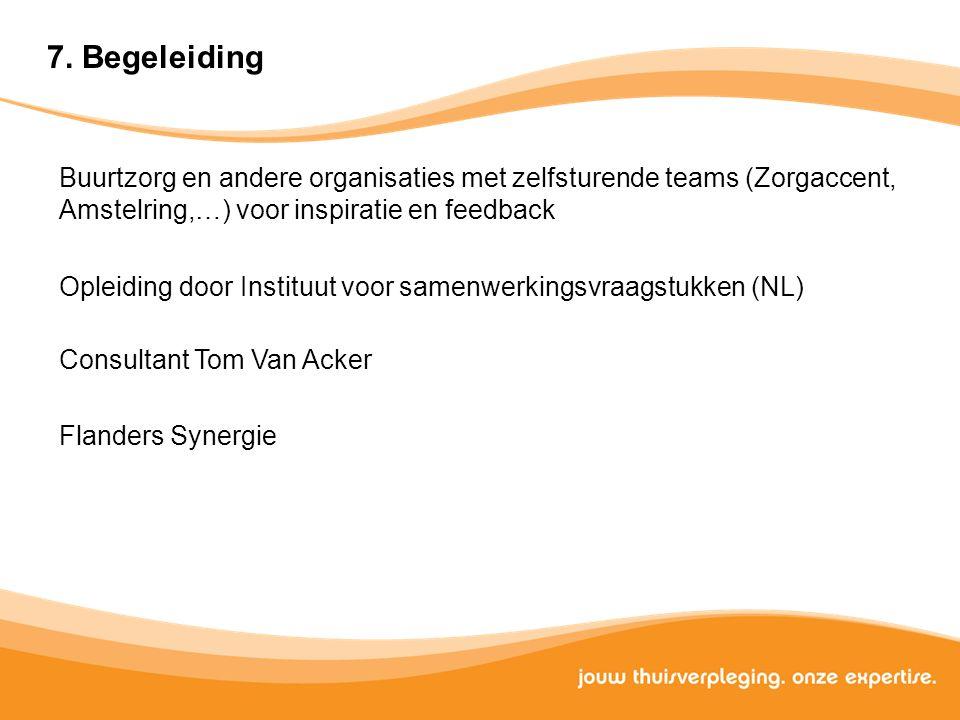 Buurtzorg en andere organisaties met zelfsturende teams (Zorgaccent, Amstelring,…) voor inspiratie en feedback Opleiding door Instituut voor samenwerk