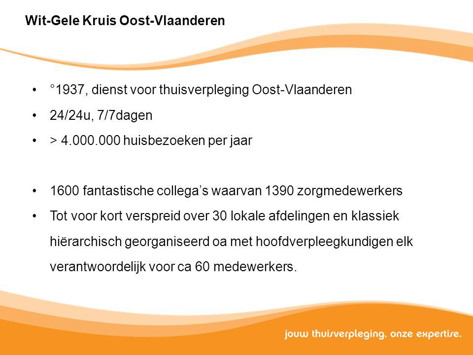 Wit-Gele Kruis Oost-Vlaanderen °1937, dienst voor thuisverpleging Oost-Vlaanderen 24/24u, 7/7dagen > 4.000.000 huisbezoeken per jaar 1600 fantastische