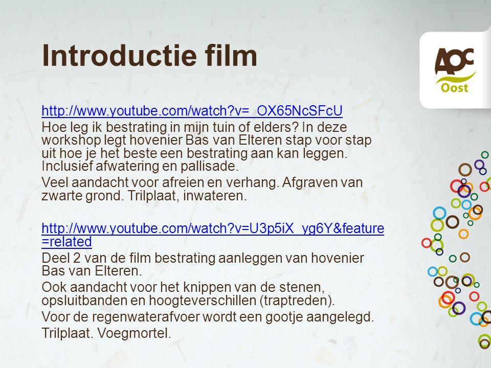 Introductie film http://www.youtube.com/watch?v=_OX65NcSFcU Hoe leg ik bestrating in mijn tuin of elders? In deze workshop legt hovenier Bas van Elter