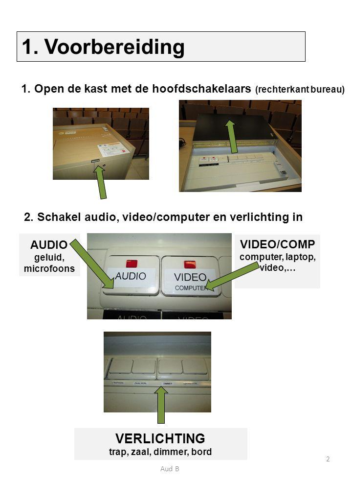 1. Open de kast met de hoofdschakelaars (rechterkant bureau) AUDIO geluid, microfoons VIDEO/COMP computer, laptop, video,… 2. Schakel audio, video/com