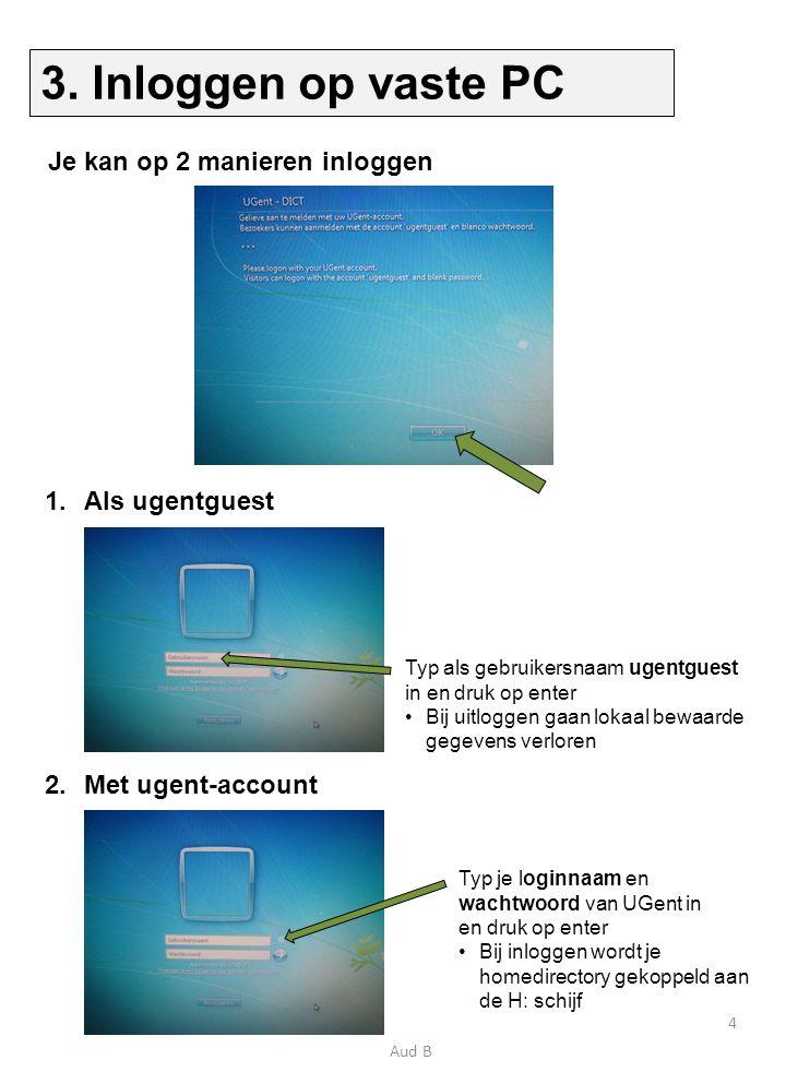 1.Sluit de laptop aan op een stopcontact (rechterkant bureau) 2.