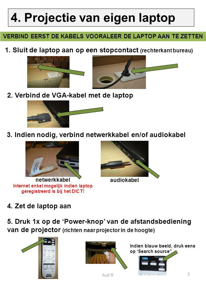 1. Sluit de laptop aan op een stopcontact (rechterkant bureau) 2.