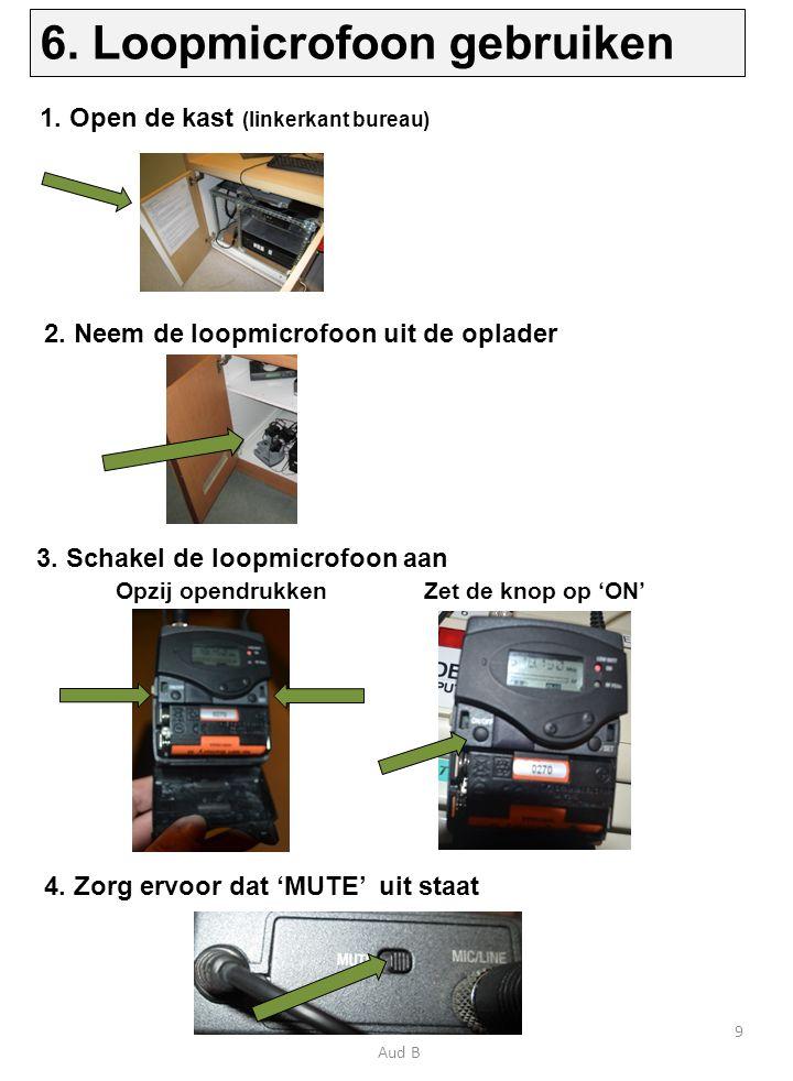 3. Schakel de loopmicrofoon aan 1. Open de kast (linkerkant bureau) 4.