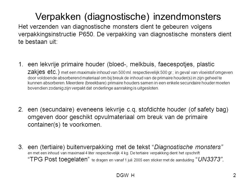 Fax voor aanvraag materiaal om monsters in te verpakken.