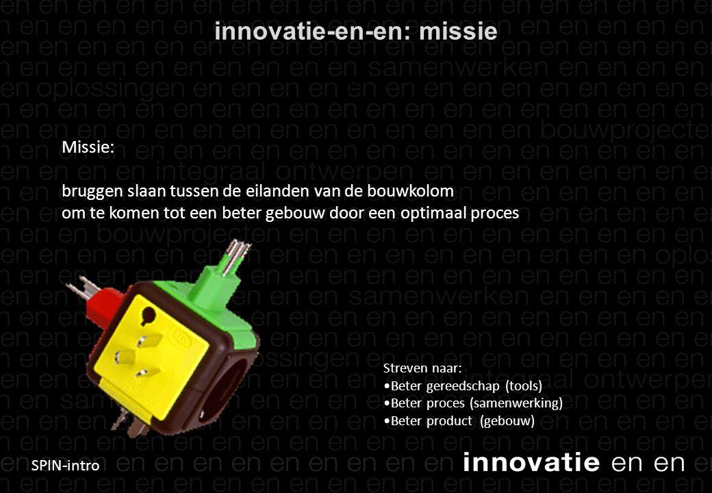 SPIN-intro innovatie-en-en: missie 13 Missie: bruggen slaan tussen de eilanden van de bouwkolom om te komen tot een beter gebouw door een optimaal proces Streven naar: Beter gereedschap (tools) Beter proces (samenwerking) Beter product (gebouw)