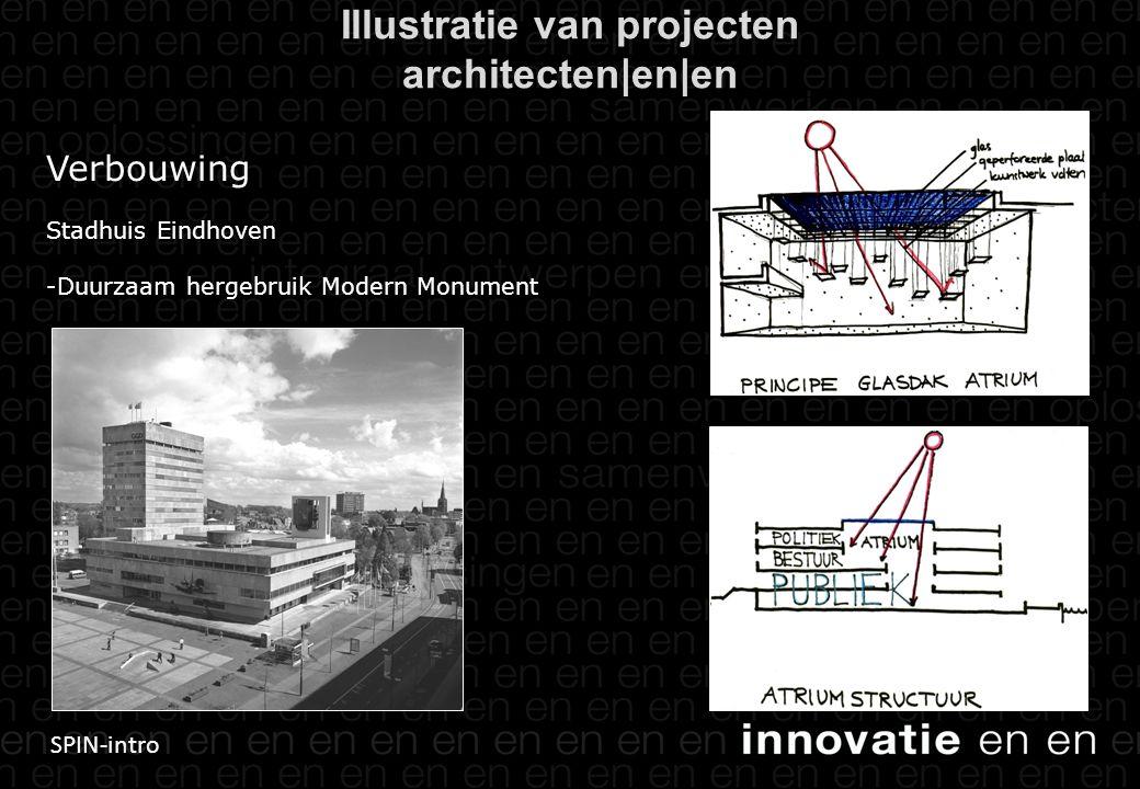 SPIN-intro Verbouwing Stadhuis Eindhoven -Duurzaam hergebruik Modern Monument Illustratie van projecten architecten|en|en