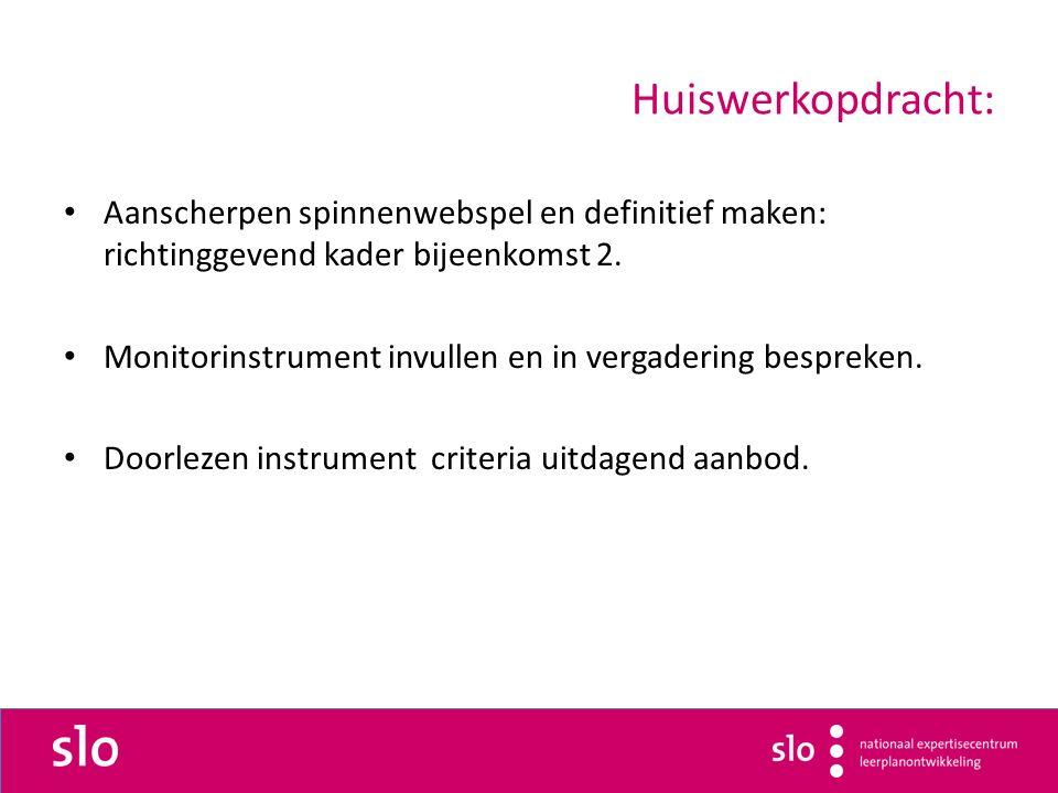 Huiswerkopdracht: Aanscherpen spinnenwebspel en definitief maken: richtinggevend kader bijeenkomst 2.