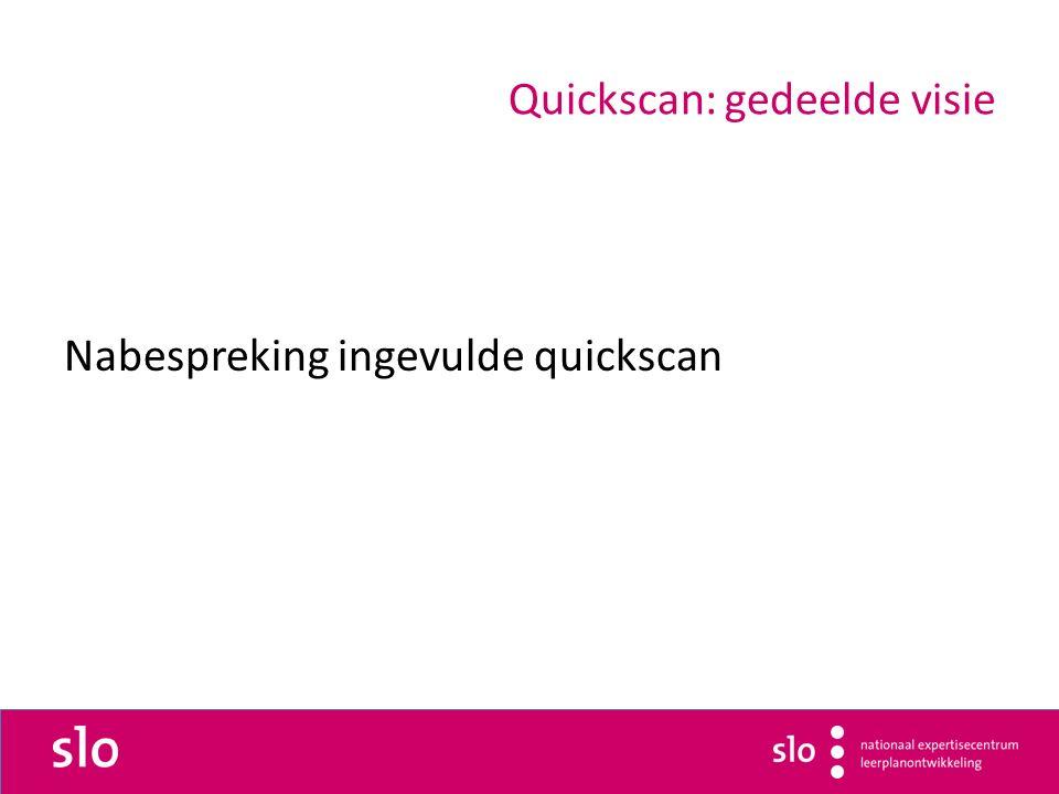 Quickscan: gedeelde visie Nabespreking ingevulde quickscan