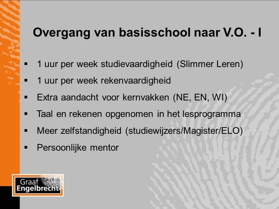 3-3-2016 Overgang van basisschool naar V.O.- II 4-uursvakken: Nederlands, Wiskunde.