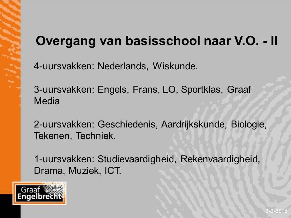 3-3-2016 Overgang van basisschool naar V.O. - II 4-uursvakken: Nederlands, Wiskunde.