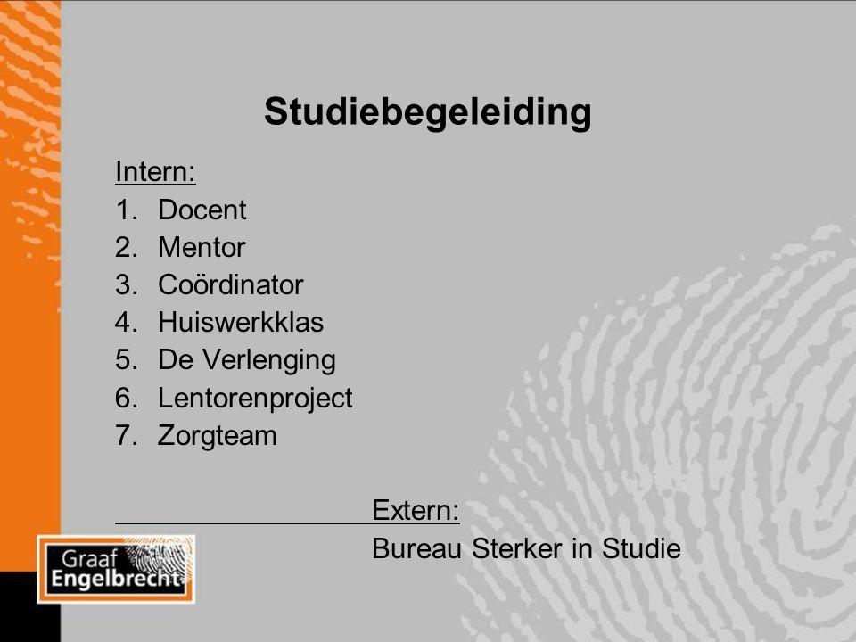 Studiebegeleiding Intern: 1.Docent 2.Mentor 3.Coördinator 4.Huiswerkklas 5.De Verlenging 6.Lentorenproject 7.Zorgteam Extern: Bureau Sterker in Studie
