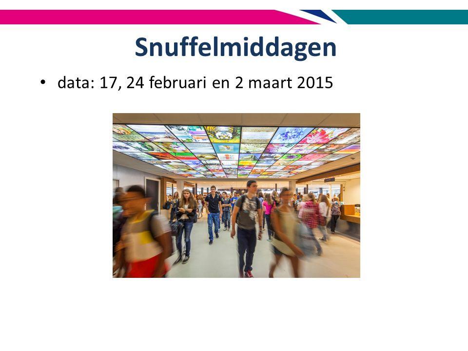 Snuffelmiddagen data: 17, 24 februari en 2 maart 2015