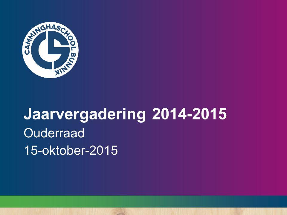 Jaarvergadering 2014-2015 Ouderraad 15-oktober-2015