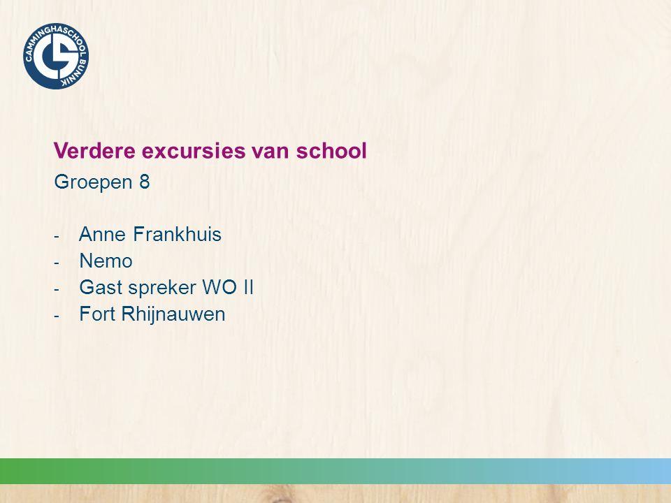 Verdere excursies van school Groepen 8  Anne Frankhuis  Nemo  Gast spreker WO II  Fort Rhijnauwen