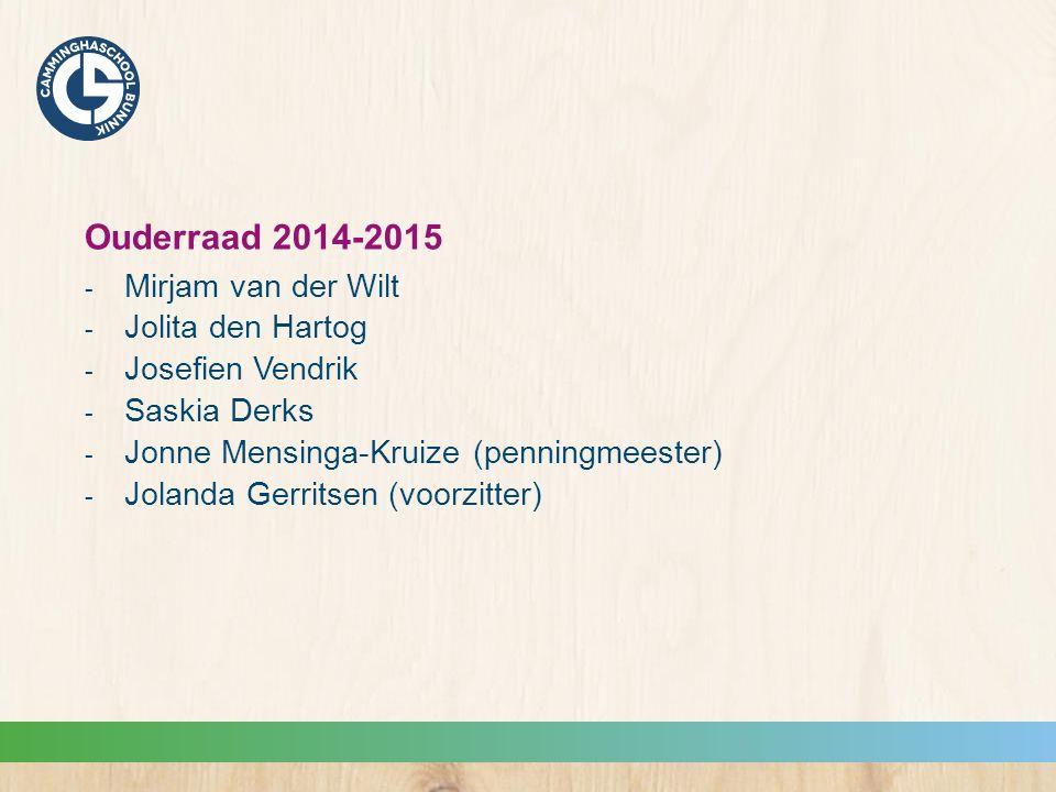 Ouderraad 2014-2015  Mirjam van der Wilt  Jolita den Hartog  Josefien Vendrik  Saskia Derks  Jonne Mensinga-Kruize (penningmeester)  Jolanda Gerritsen (voorzitter)