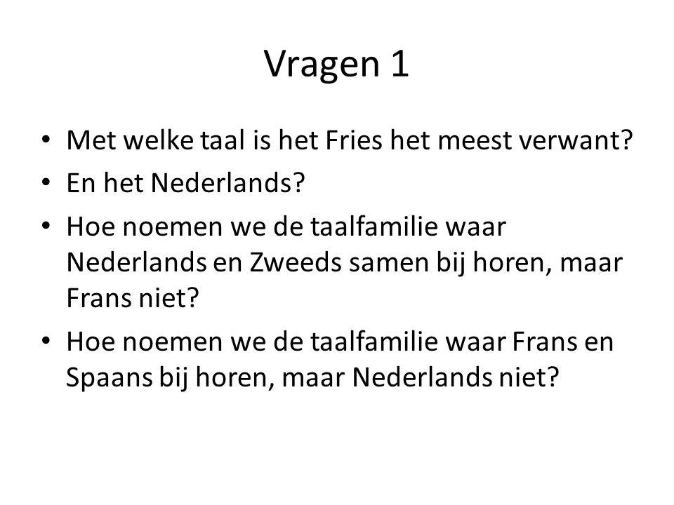 Vragen 1 Met welke taal is het Fries het meest verwant.