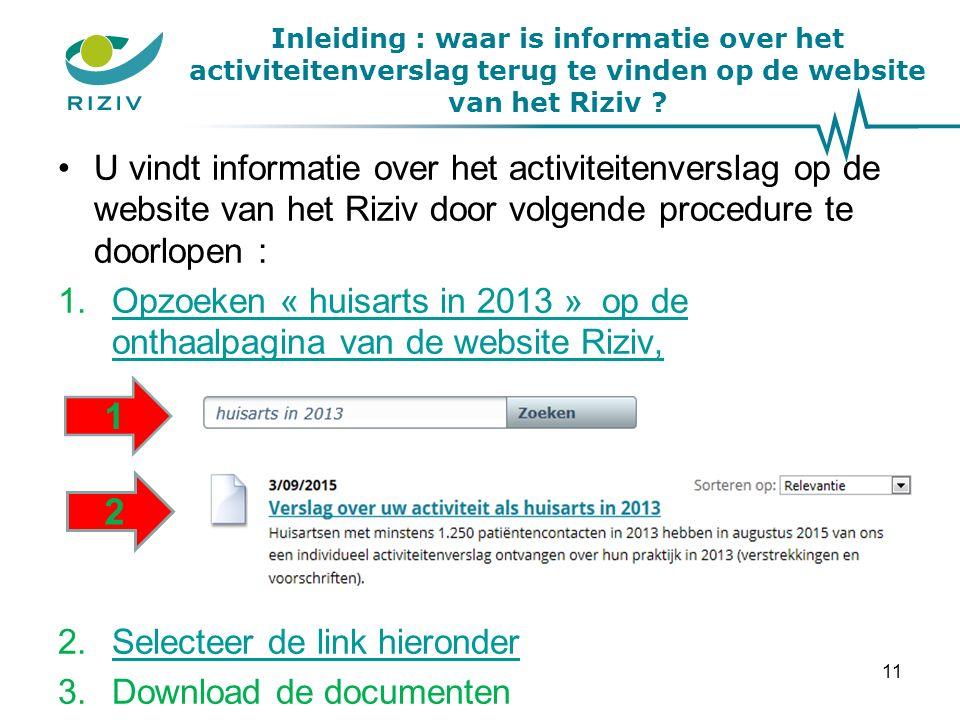Inleiding : waar is informatie over het activiteitenverslag terug te vinden op de website van het Riziv .