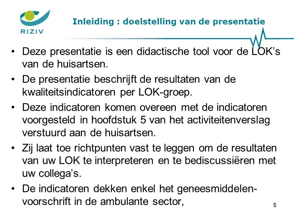 Inleiding : doelstelling van de presentatie Deze presentatie is een didactische tool voor de LOK's van de huisartsen.
